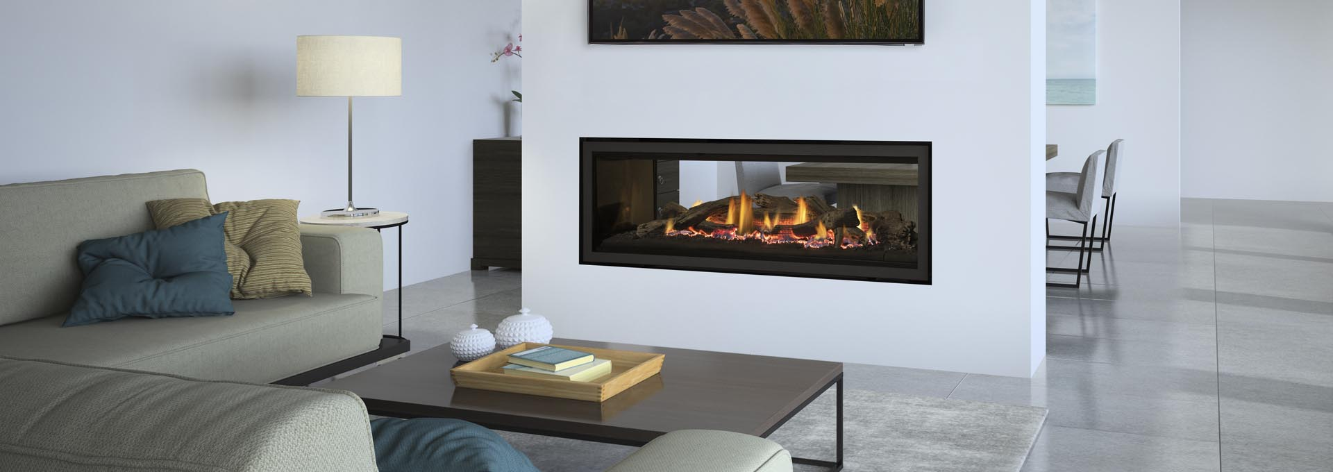 Propane Gas fireplace system set up